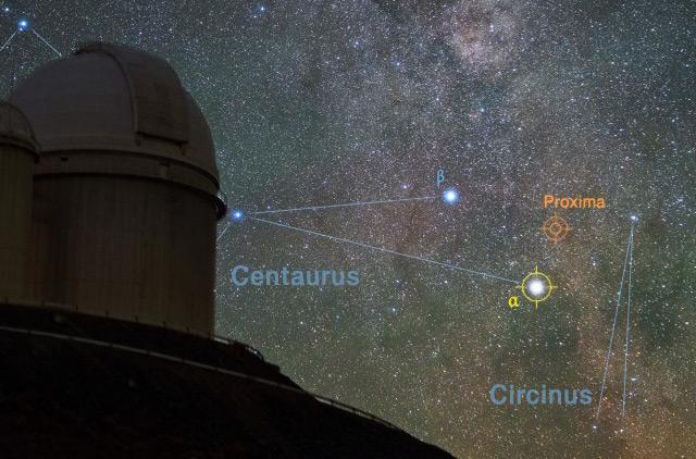 ESO-Observatorium in La Silla/Chile und die Lage von Proxima