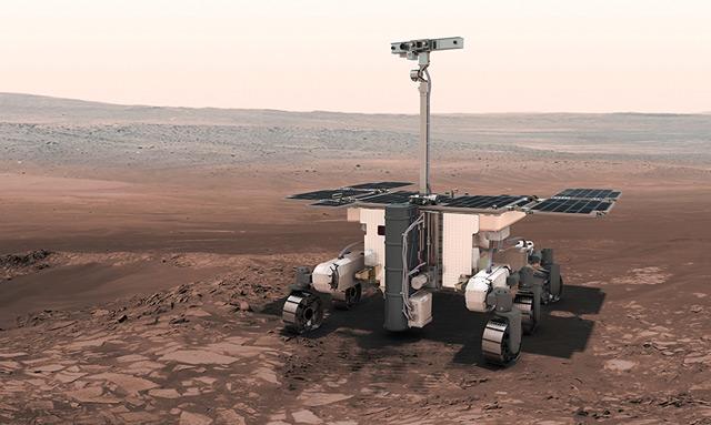 Künstlerische Darstellung des ExoMars-Rovers von 2020