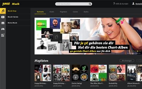 Screenshot der Juke Musik Website
