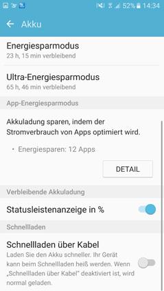 Screenshot des Akku-Menüs in den Einstellung eines Samsung-Smartphones
