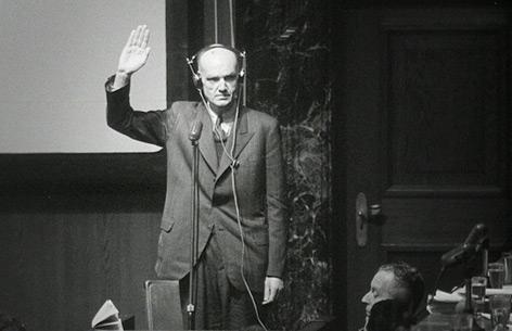 Kronzeuge Erwin Lahousen im Zeugenstand in Nürnberg