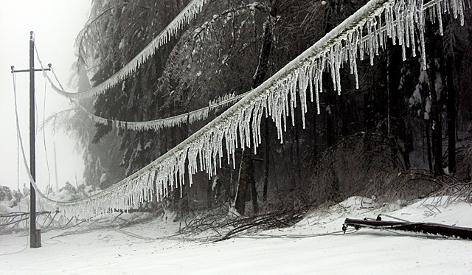 vereiste Stromleitungen im Schnee