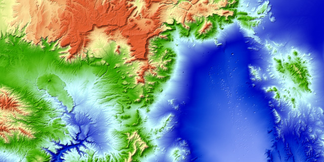 """Kraterlandschaft der """"Nevada Test Site"""", Schauplatz zahlreicher Atombombentests"""