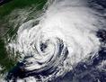 Ein Hurrikan aus dem Weltall aus betrachtet über Florida