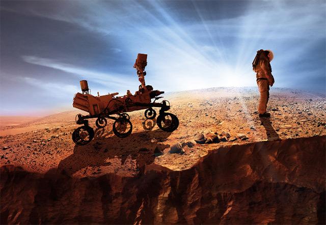 Astronaut und Rover auf dem Mars
