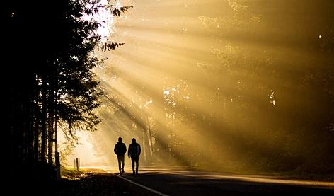 zwei Männer gehen durch den Nebel