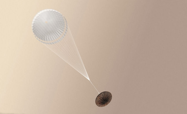 """Künstlerische Illustration: So hätte """"Schiaparelli"""" auf den Mars gleiten sollen"""
