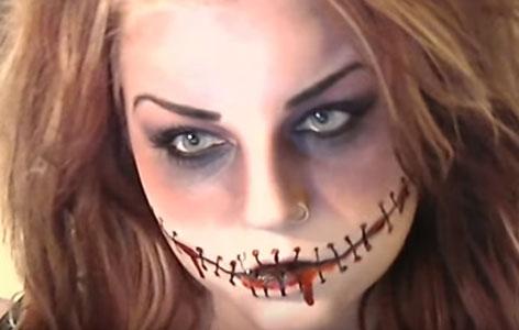 Make-up zugenähter Mund