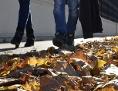Spaziergänger (Beine) im Herbstlaub
