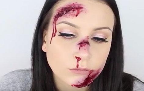 Make-up Wunden im Gesicht