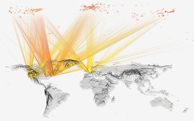 Weltkarte und Linien, die auf die Herkunft von häufig zitierten Studien hinweisen
