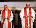 Präsident des Lutherischen Weltbundes (LWB), Munib Younan, Papst Franziskus und der General Sekretär des Lutherischen Weltkongresses, Martin Junge
