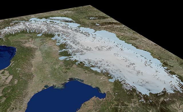 3D-Eismodellierung der Alpen zur Zeit des Letzten Glazialen Maximums
