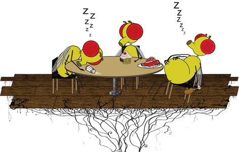 Comic: Fliegen im Fresskoma