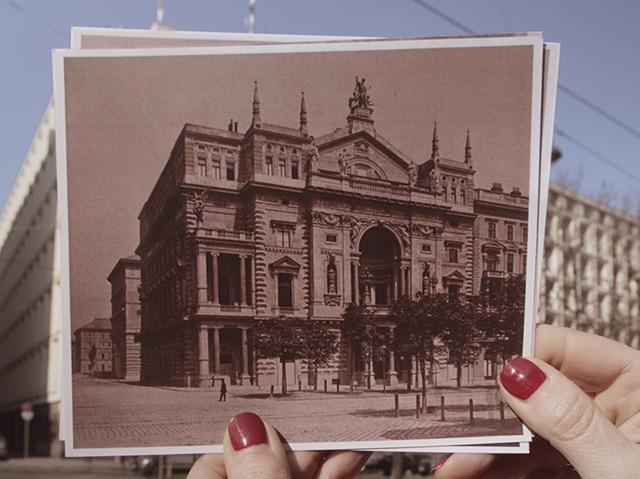 Filmausschnitt: das Sühnhaus auf alten Fotos, dahinter die Landespolizeidirektion Wien, die heute am Schottenring 7 residiert