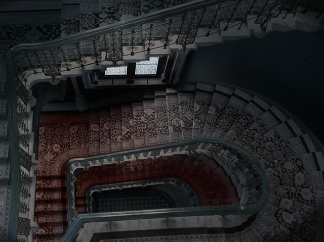 Rekonstruktion des Stiegenhauses im Sühnhaus, in das sich Pauline Silberstein gestürzt hat