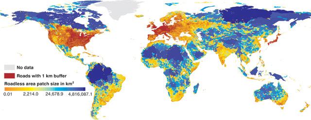 Weltkarte der straßenlosen Gebiete