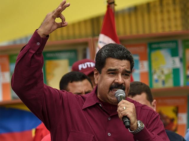 Der Präsident Venezuelas Nicolas Maduro bei einer Rede