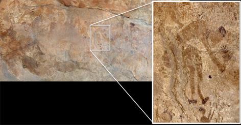 Höhlenmalerei: Ein früher Menschen beim Pflanzen-Sammeln