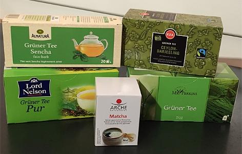 Güntee und Matcha in der Verpackung
