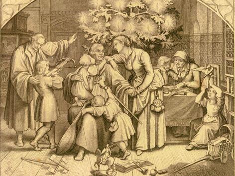 Gustav König: Luthers Winterfreuden im Kreise seiner Familie, Stahlradierung, 1851 (Ausschnitt)