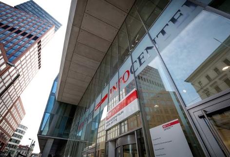 Eingangsbereich des Infocenters im Finanzzentrum Wien Mitte