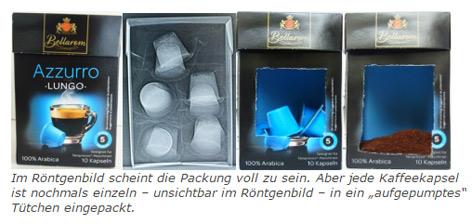 Das Bild zeigt eine Verpackung von 5 Kaffeekapseln von außen und im Röntgenbld