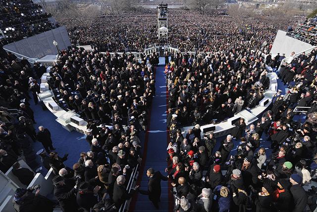 Barack Obama kommt am Kapitol in Washington bei seiner ersten Inauguratin 2009 an