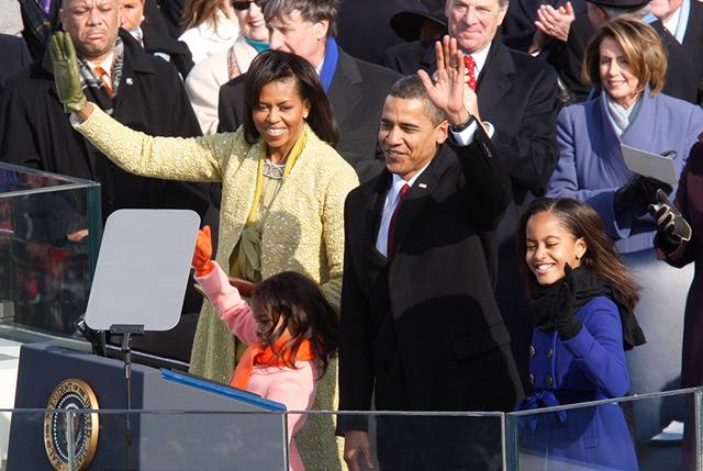 Barack Obama mit Familie bei seiner ersten Inauguration, am 20.1.2009