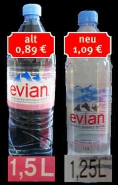 Evian Flaschen alt und neu