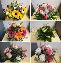 Eie Auswahl bestellter Blumensträuße