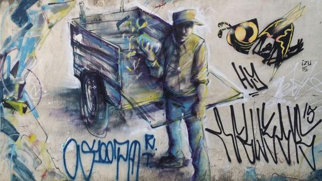 Grafitti eines Müllsammler in Brasilien