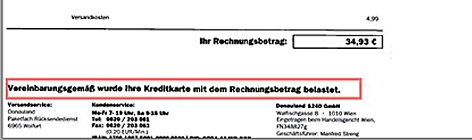 Rechnungsabschnitt von Donauland