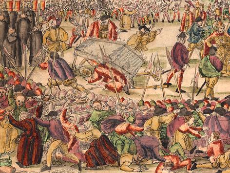 """Der """"Milchkrieg"""", ein Tumult bei der Fronleichnamsprozession 1578 (Ausschnitt)"""