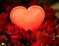 Ein rotes Herz in einem Strauß roter Rosen