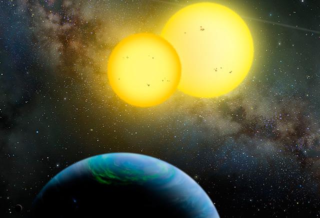 Künstlerische Darstellung: Planet mit zwei Sonnen