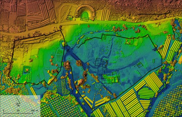 Digitales Modell der Höhenlinien in Limyra