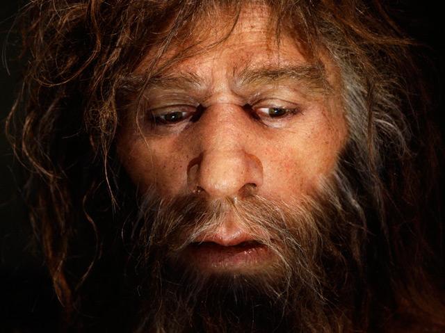 Rekonstruktion eines Neandertaler in Krapina (Kroatien)