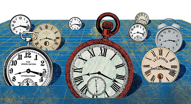 Illustration: Uhren mit usncharfen Zeigern