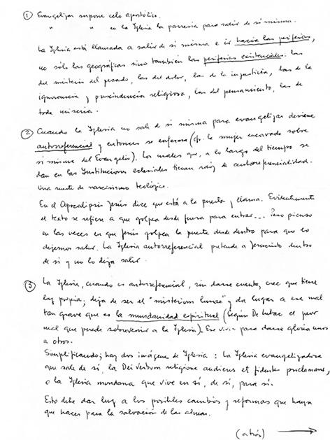 Handschriftliche Notizen von Papst Franziskus zu einer Rede vor der Papst-Wahl