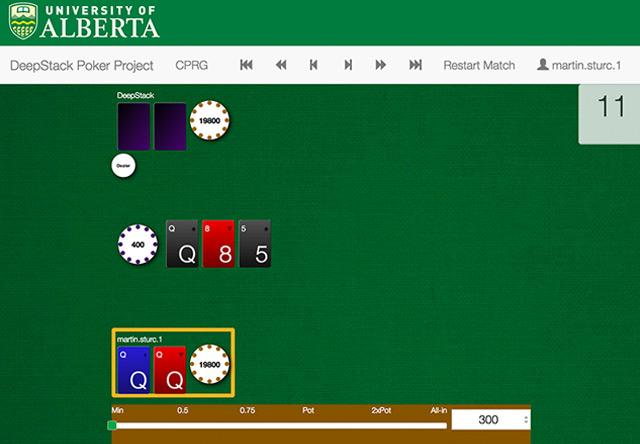 """Oberfläche des Spielprogramms von """"DeepStack"""""""