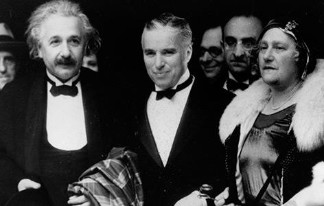 Chaplin mit Albert Einstein bei der Premiere des Films am 2. Februar 1931