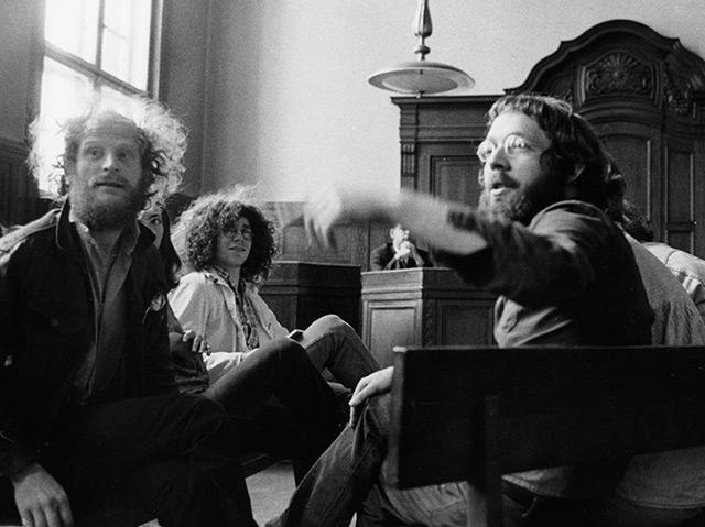 Juli 1968: Prozess gegen die Kommunarden Dieter Kunzelmann, Rainer Langhans und Fritz Teufel (v.l.)