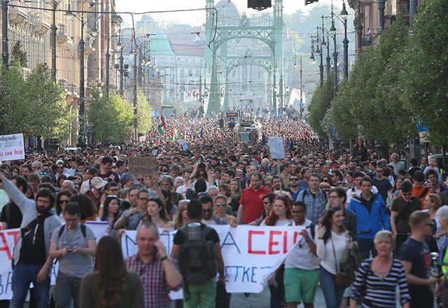 Die Demonstration in Budapest