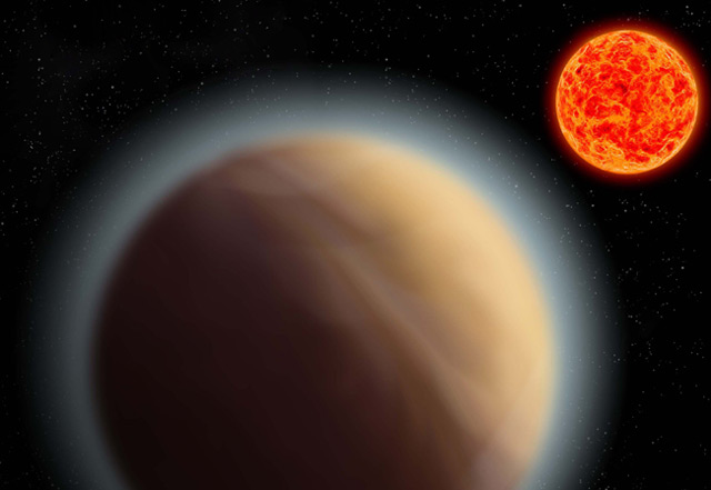 Künstlerische Darstellung des ergroßen Planeten, der Zwergstern umkreist