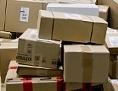 Pakete im Frachtzentrum der Deutschen Post in Nürnberg (Bayern)