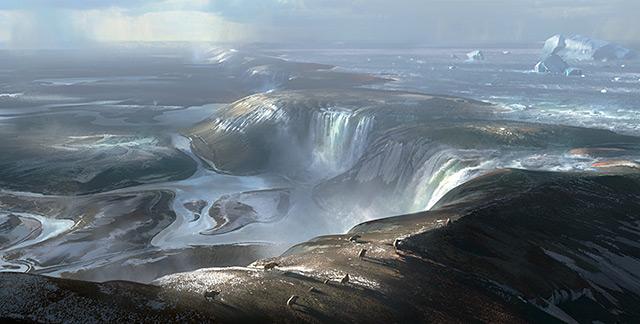 Küpnstlerische Darstellung: urzeitliche Wasserfälle im Ärmelkanal