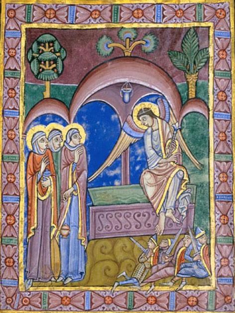 Albany-Psalter-Darstellung der Frauen am Grab Jesu aus dem 12. Jahrhundert