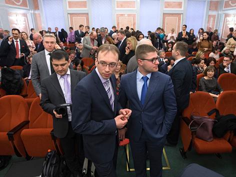 Zeugen Jehovas in einem Gerichtsraum in Moskau, Russland