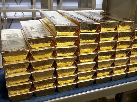 Goldbarren im Goldtresorraum der Nationalbank
